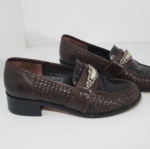 Brighton Antique Leather Brown Slide-On Loafer 8.5